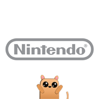 Nintendo logo with a brown cat